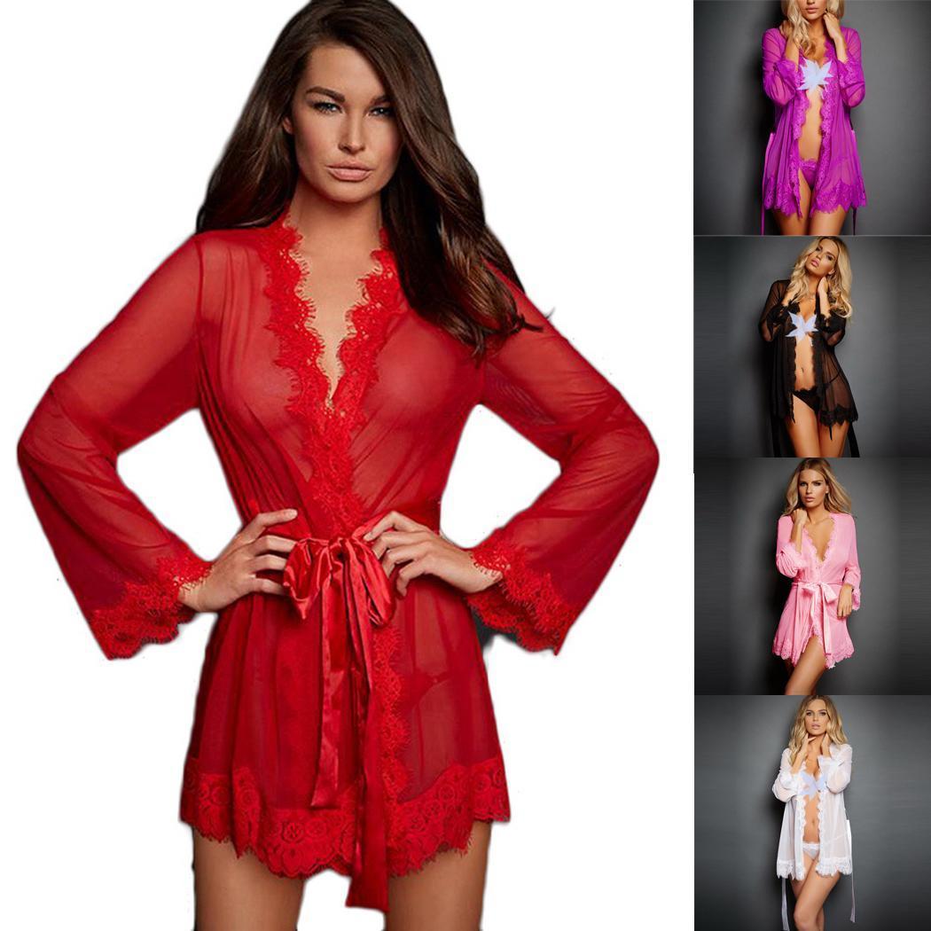 Female Sexy Kimono Bathrobe Babydoll Chemises See-through Temptation Nightgown With Belt Women Long Sleeve Exotic Nightwear