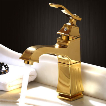 Bathroom Basin Faucets Solid Brass Hot & Cold Sink Mixer Tap Single Handle Deck Mounted Gold Lavatory Crane Tap Free Shipping