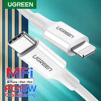 Ugreen MFi USB tipo C A Lightning Cable para iPhone 11 Pro X XS X 8 XR PD18W rápido USB-C Cable de datos de carga para Macbook de Cable