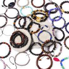 Wholesale Bracelets Set Men Elastic Jewelry Vintage Braid Pulsera 8 mm Labradorite Beads Bangle Femme Tiger Eye Stone Bracelet