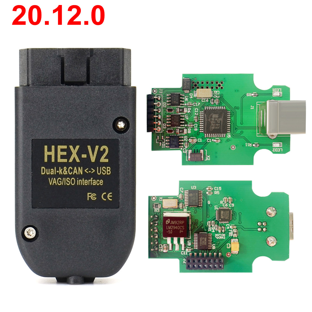 Venda quente vag com 20.4.2 vagcom 20.12.0 hex v2 hex cabo para vw audi skoda seat vag 20.12.0 atmega162 + 16v8 ft232rq
