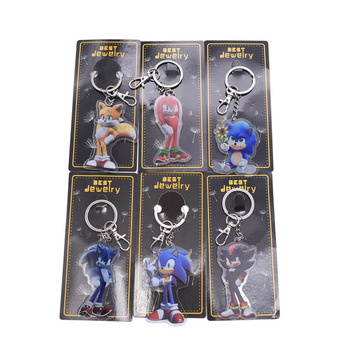 6 Styles Anime Sonic Figure Keychain  PVC Action Figure Collection Model Doll Toy Christmas Gift For Children 9 myethos houkai 3rd anime raiden mei wedding dress 1 8 scale boxed 23cm pvc action figure collection model doll toys gift