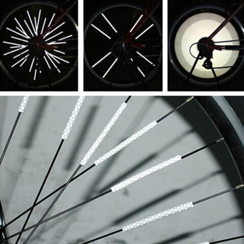 Offre spéciale 12 pièces vélo VTT roue déquitation jante a parlé montage Clip Tube voyant davertissement bande réflecteur réfléchissant en plein air