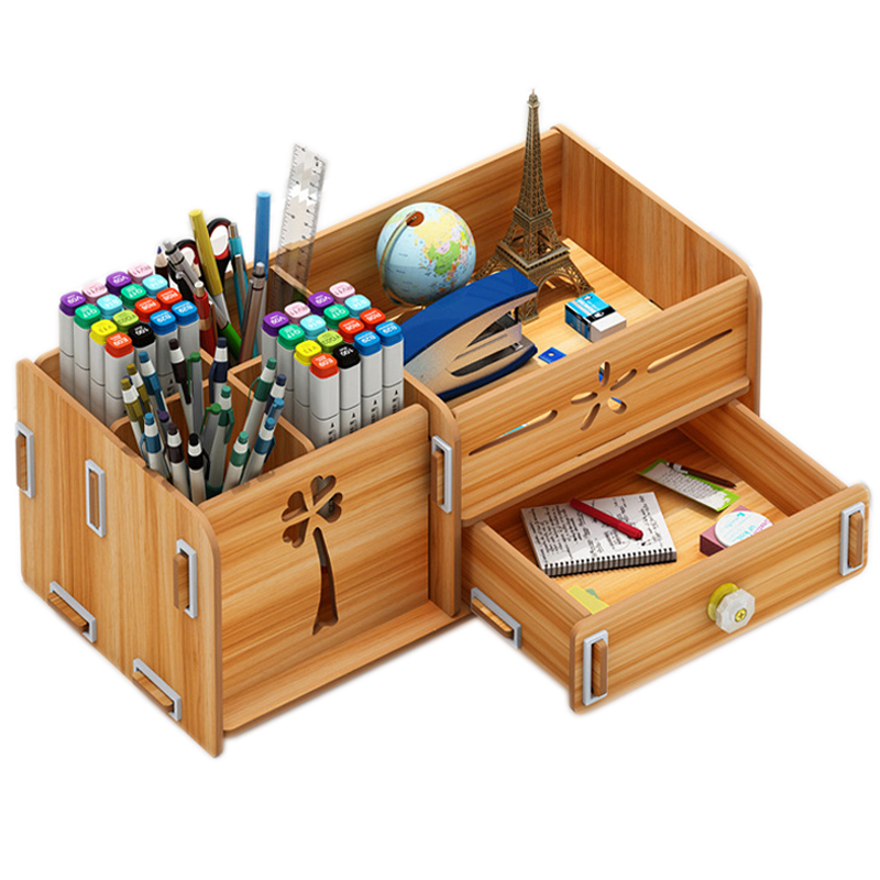 Wooden Desk Organizer Multi-Functional DIY Pen Holder Box Desktop Stationary Home Office Supply Storage Rack