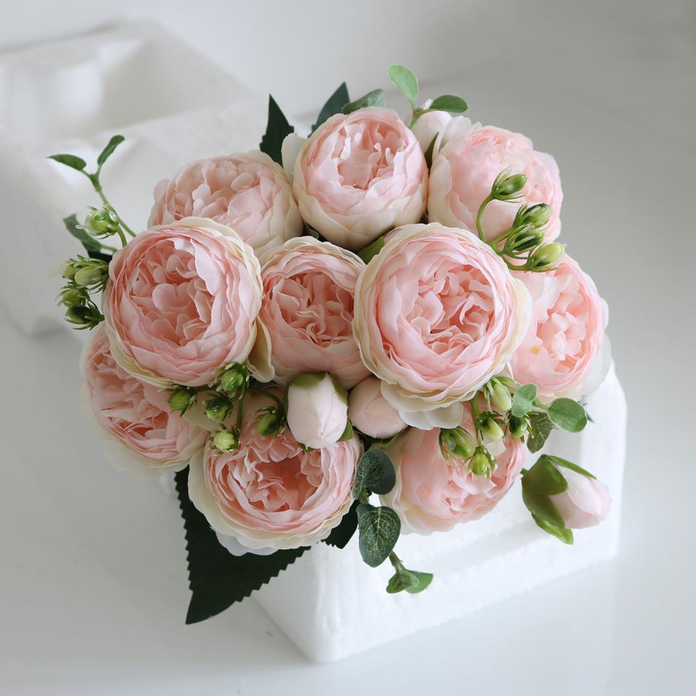 Новинка 2020, 4 вида цветов, красивый розовый пион, искусственный цветок из шелка, маленький букет, цветок для дома, вечерние, весенние, свадебн...