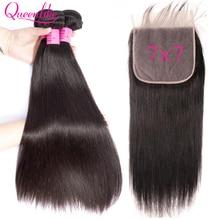 7x7 fechamento do laço com cabelo humano pacotes queenlike não remy tecelagem grande laço 3 4 pacotes de cabelo reto brasileiro com fechamento