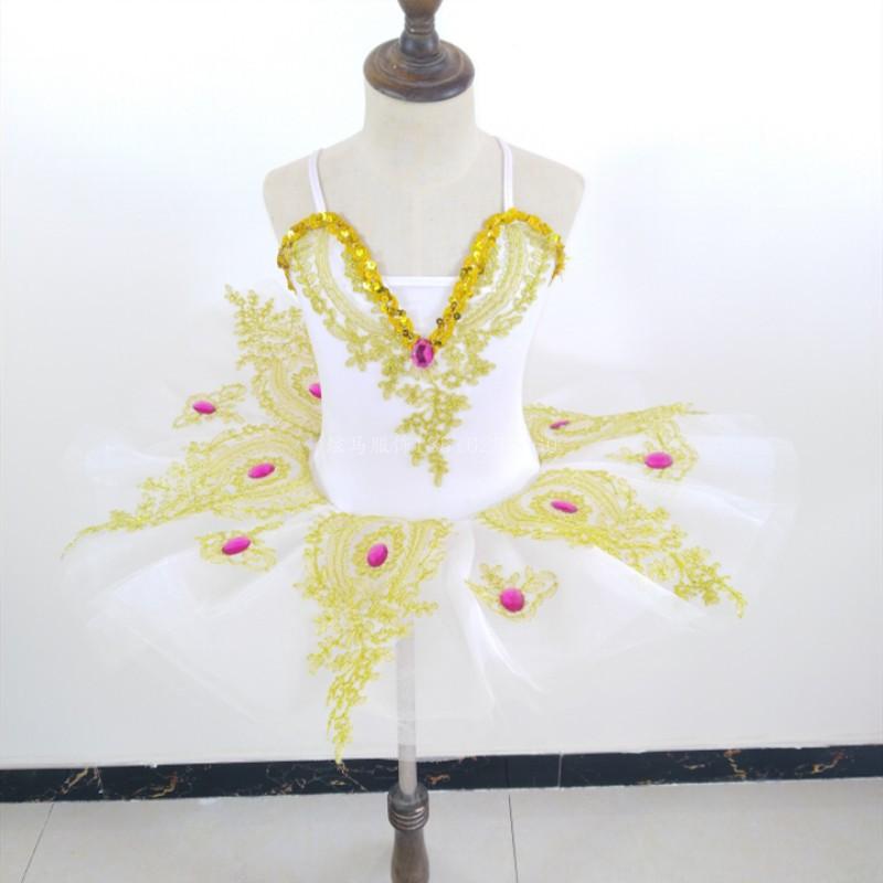 Г. Новое платье балетное для девочки слинг Лебедь танцевальный костюм белая газовая юбка представление пачка цветок девушки платья - Цвет: white