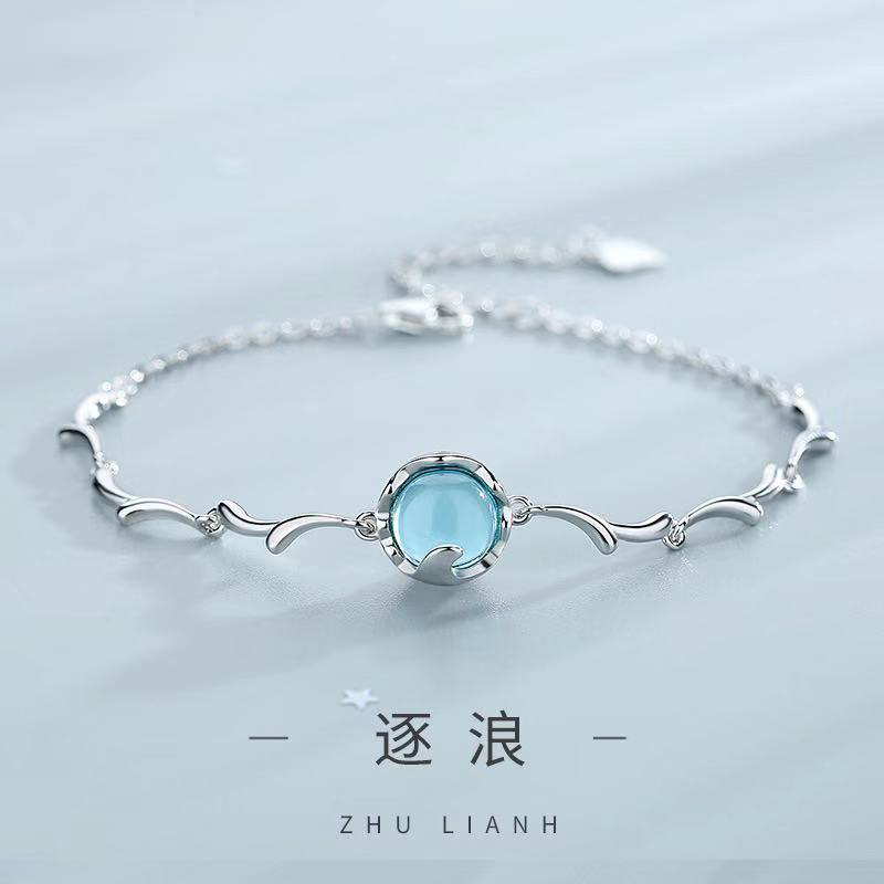 925 pure silver wave chains female Korean bracelets for women femme simple personality handicraft Forest Department jewelry 2019 in Bracelets Bangles from Jewelry Accessories