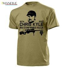 2019 New Summer Cool Tee Shirt Chris Kyle American Sniper Navy Seal Us Iraq Texas Hero 160 Kills Army Skull Funny T