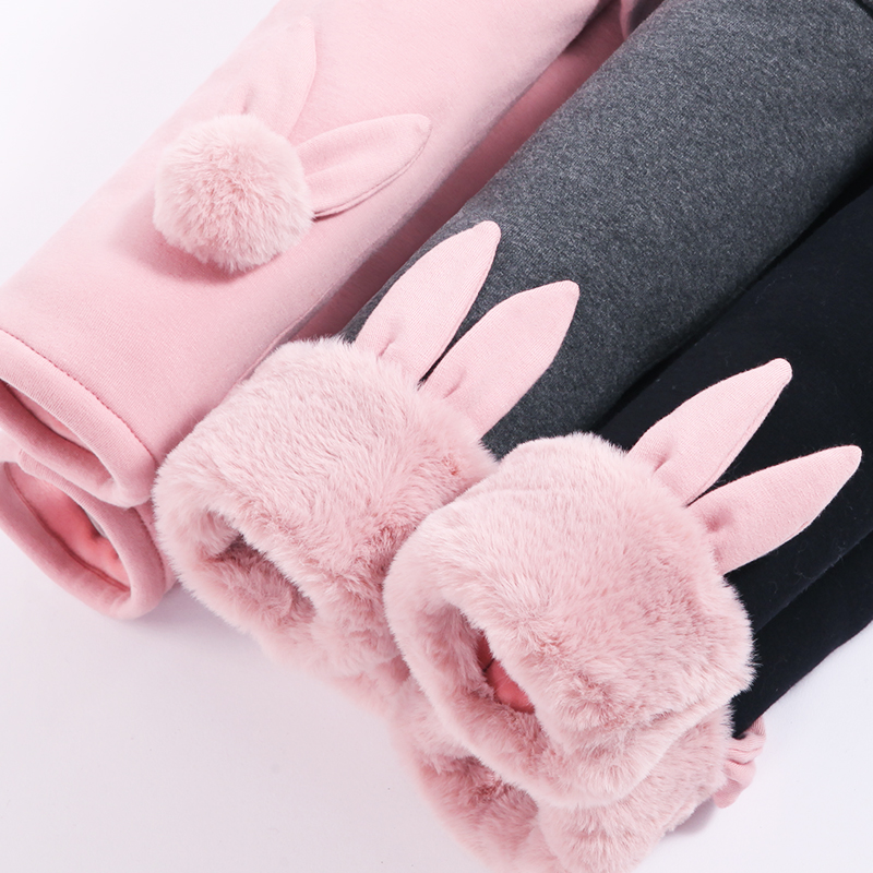 Girl's Pure Cotton Padded Leggings Winter Cartoon Cotton Pants Outwear Baby Warm Pants Plush Thickened PANTS NEW Child Trousers 3