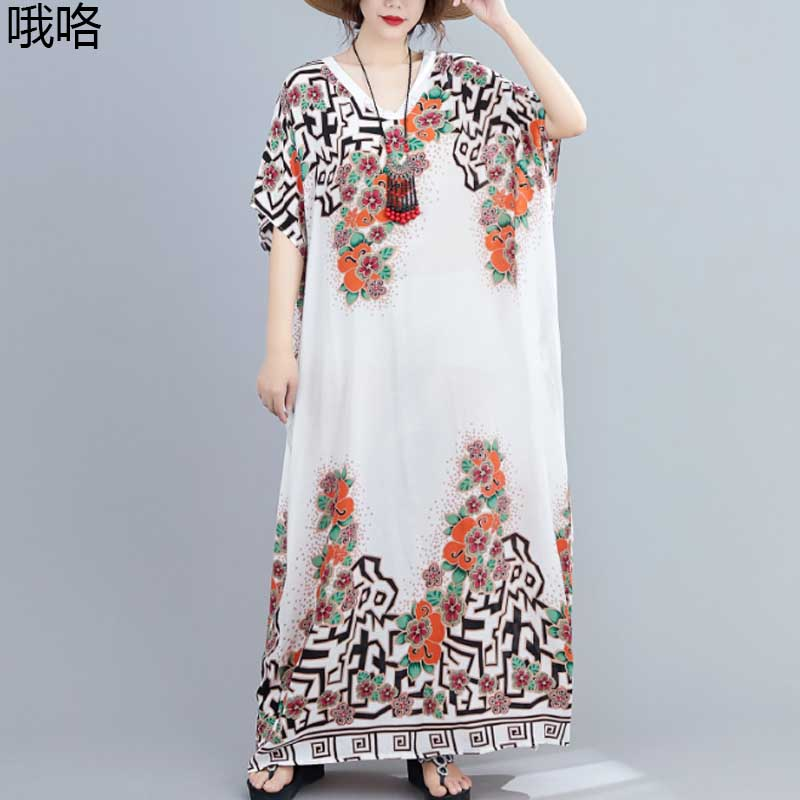 <font><b>Women</b></font> Sundress <font><b>Plus</b></font> <font><b>Size</b></font> 4XL 5XL6XL <font><b>7XL</b></font> Boho Dress Summer New Vintage Cotton Linen Floral Print Beach Robe Dresses Vestidos 2020 image