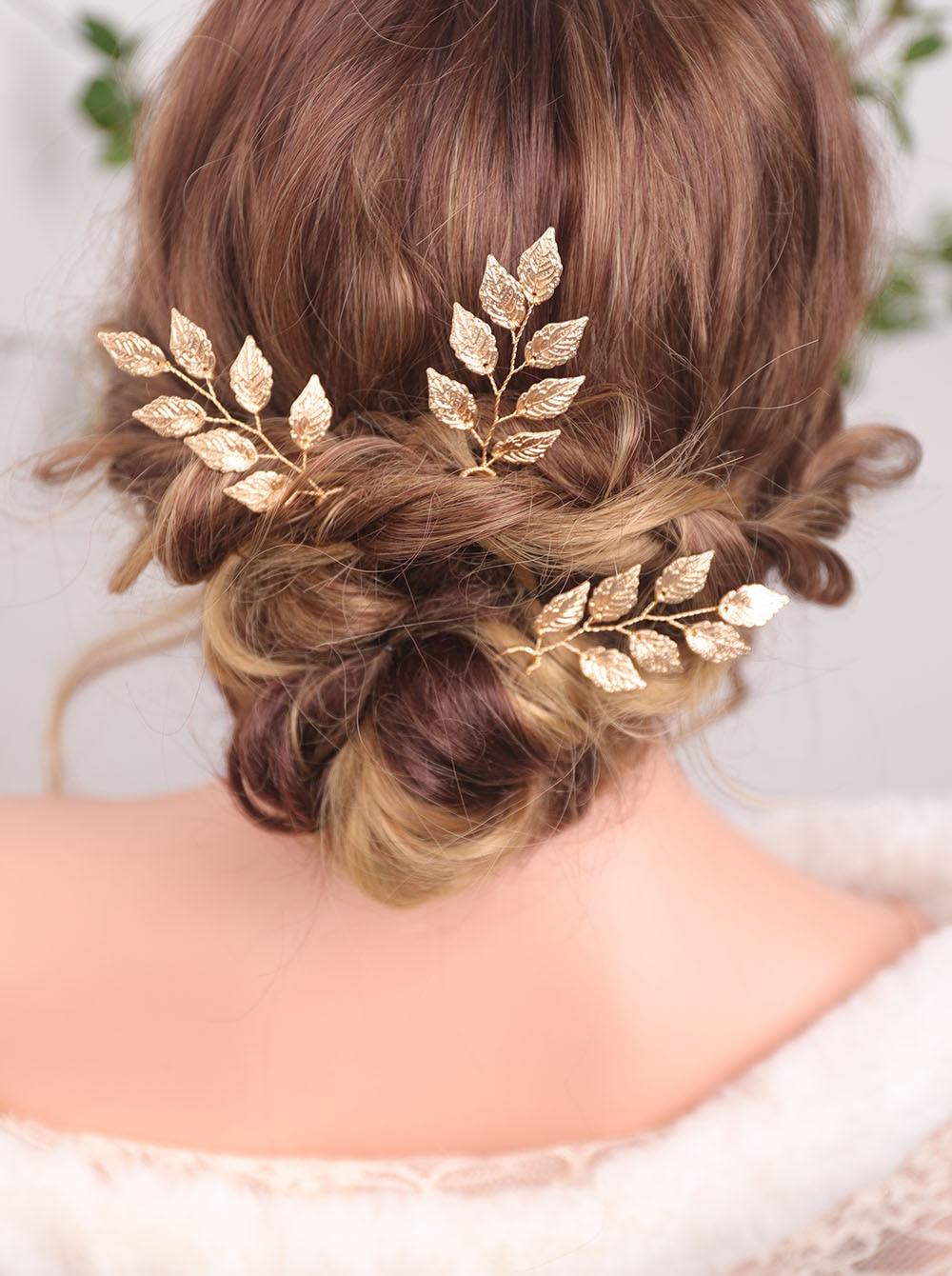 Элегантные золотистые заколки для волос, банкетный головной убор, винтажный головной убор с листьями, минималистичные Свадебные металличе...