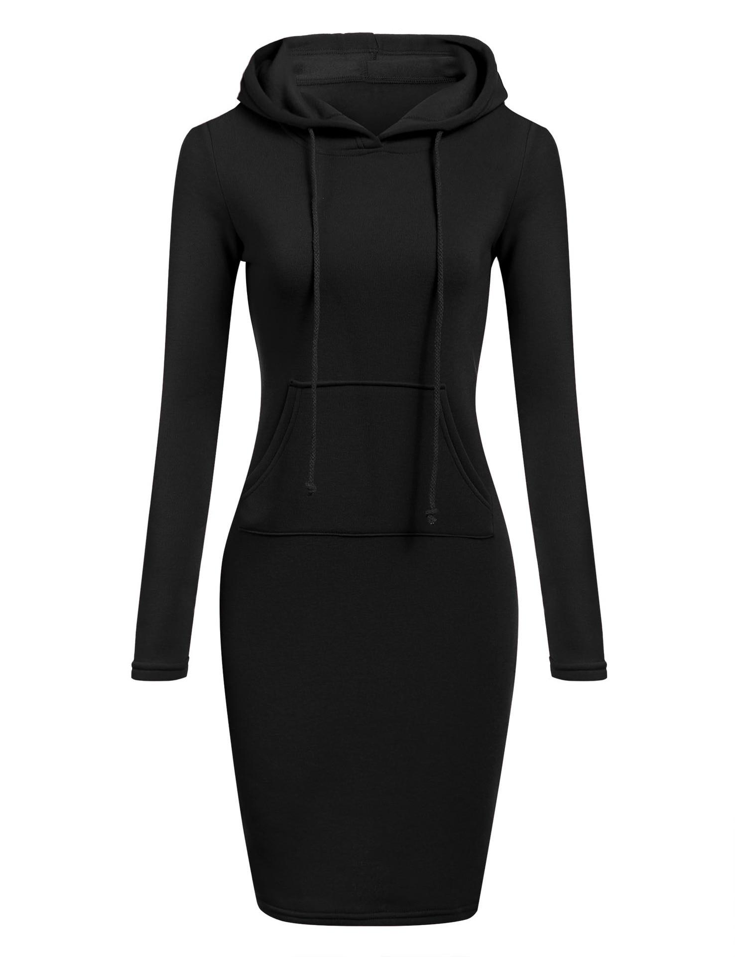 Autumn Winter Warm Sweatshirt Long-sleeved Dress Woman Clothing Hooded Collar Pocket Simple Casual lady Dress Vesdies Sweatshirt 1