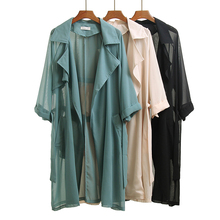 Spring Summer Casual Loose Chiffon Trench Coat with Sashes Oversize Vintage Cloak Overcoats Windbreaker Office Lady