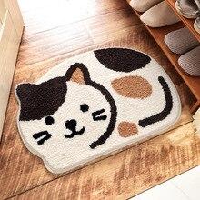 Felpudo de suelo Irregular con diseño de gato de dibujos animados Felpudo de Interior para entrada alfombras de flocado peludo almohadilla de puerta lavable a máquina alfombras de baño de cocina antideslizantes