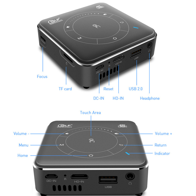WZATCO T11 Portable Mini DLP 3D Projector HD Android 9.0 For Full 1080P 5