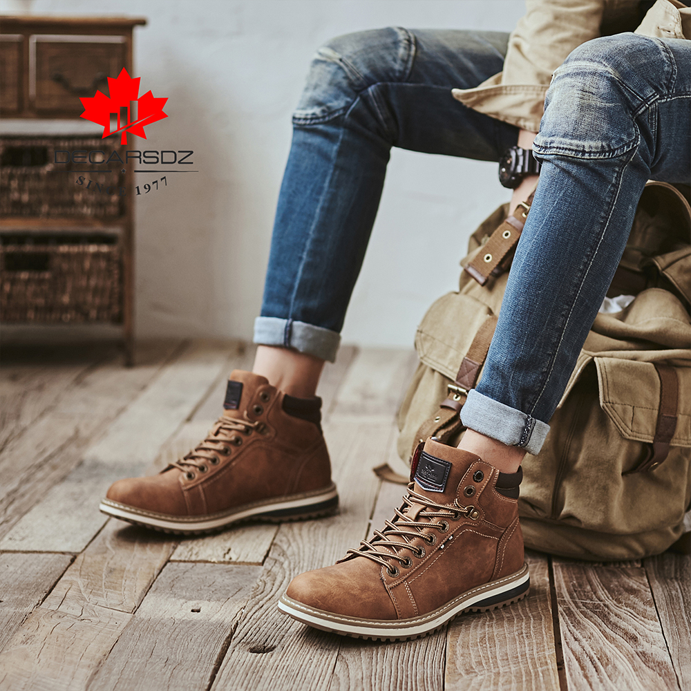 DECARSDZ Men Boots Lace-up Leather Shoes Popular Comfy Autumn Men Shoes Men Casual Boots Fashion Men's Boots Hiking Botas Hombre 4