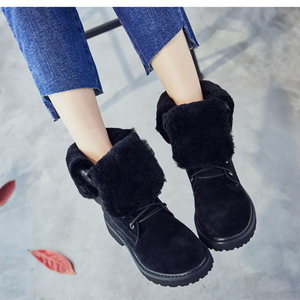 Image 5 - SWYIVY Genuine Leather Snow Boots Ladies Wedge Shoes Woman 2019 Warm Womens Winter Shoes Pigskin Plush Ladies Platform Booties