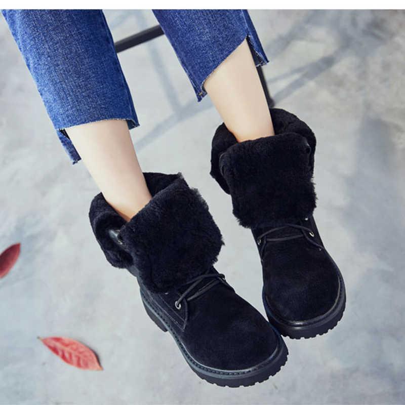 SWYIVY buty na koturnie prawdziwej skóry śnieg buty kobiece buty zimowe 2019 zimowe buty damskie świnia Split panie platformy botki
