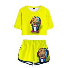 2021 3D yellow Rainbow Logo Little Shark 6IX9INE GOOBA Fashion Two-piece Sets Sexy Summer Short tops+pants casual Women Sets