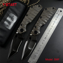 Y-START knives SMF folding knife satin D2 blade ball bearing washer TC4 flame texture handle outdoor tool tactical