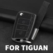 Specjalne akcesoria dla obudowa kluczyka do samochodu torba do zdalnego sterowania powłoka ochronna dla VW Volkswagen Tiguan mk2 2016 2017 2018 2019 2020 tanie tanio NoEnName_Null