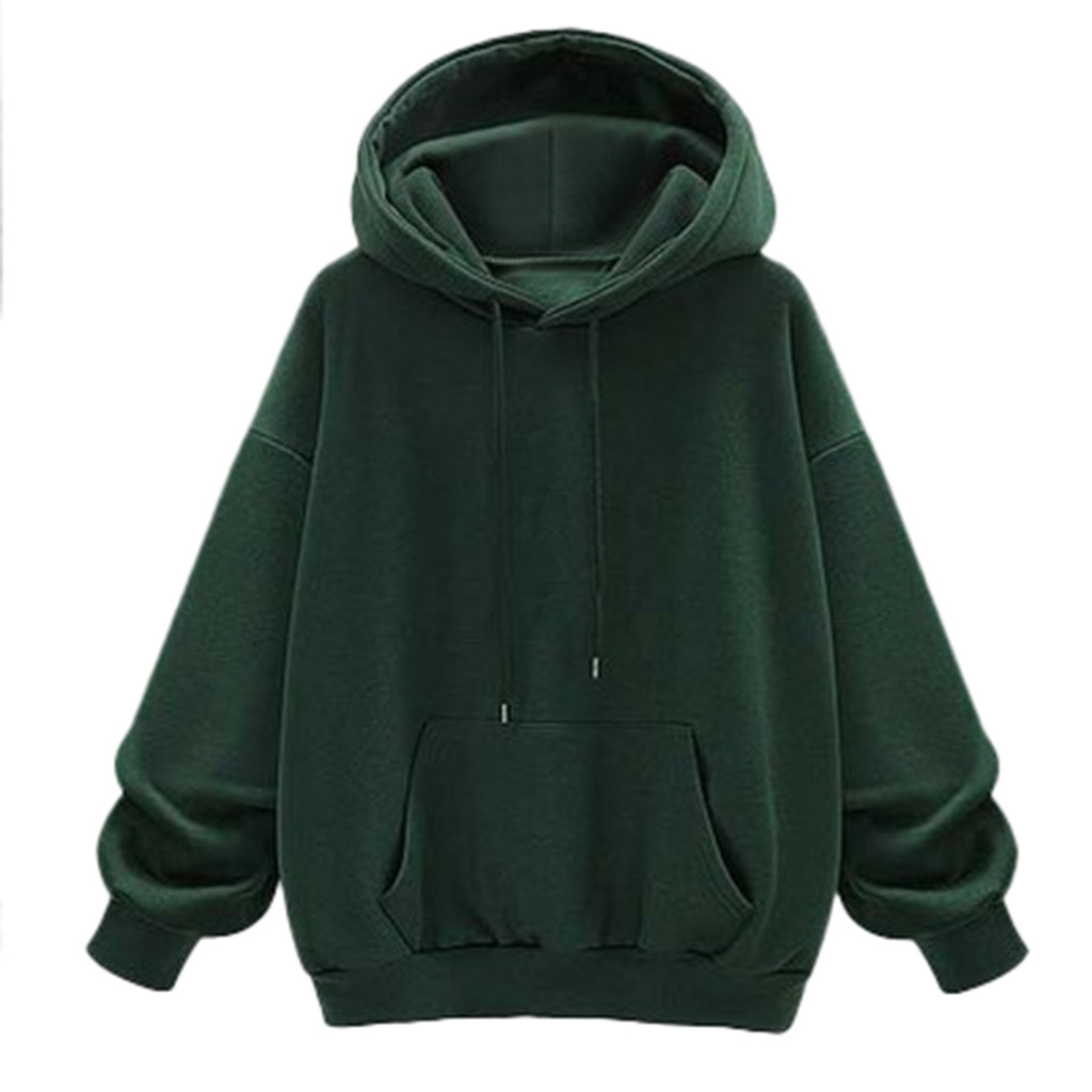 Women Green Hoodie Autumn Long Sleeve Sweatshirt Pocket Drawstring Hooded Solid Color Casual Pullover Solid Streetwear