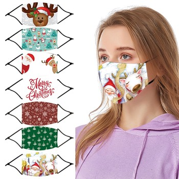 #25 1pc Chrismas Printing Adult Mask Protective Reusable Washable Comfortable Outdoor Dustproof Windproof Cycling Face Masks