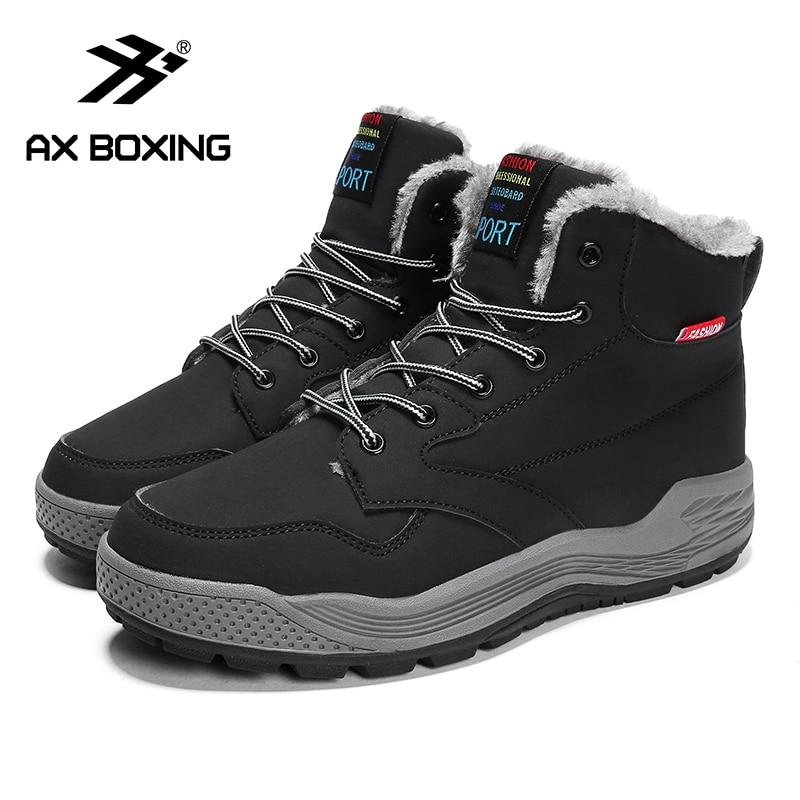 AX BOXING Men Boots  Warm Snow Boots Men Winter Boots Work Shoes Men Footwear Fashion Man Winter Shoe 39-46