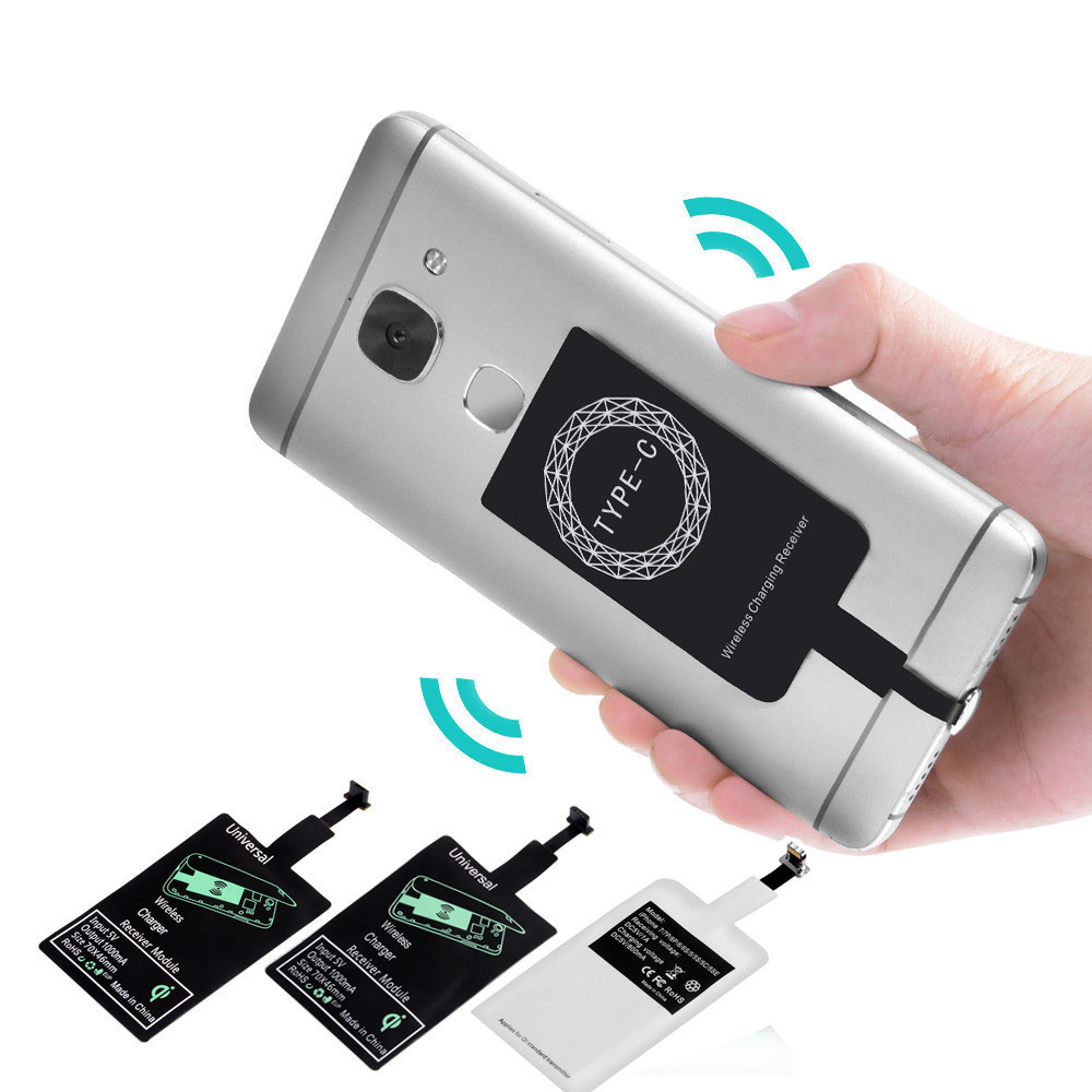 FDGAO Qi Wireless Charger Pad Coil Universal Wireless Charging Receiver module For iPhone 6 7 Plus Samsung Xiaomi Huawei Type C in Wireless Chargers from Cellphones Telecommunications