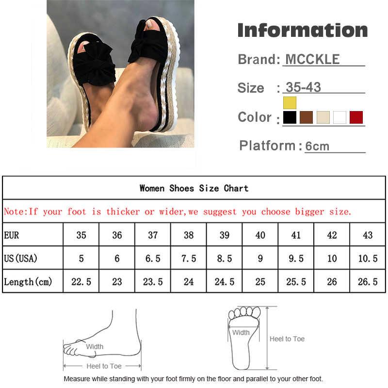 MCCKLE terlik kadın slaytlar yay yaz sandalet yay-düğüm terlik kalın tabanlar düz Platform kadın çiçek plaj ayakkabısı Flip flop