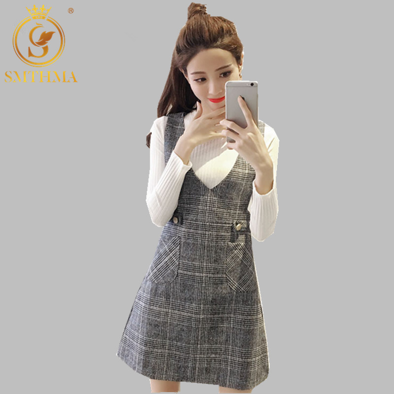 SMTHMA 2019 New Spring Women's Long Sleeve White Sweater +Tweed Plaid Strap Dress Two-piece Set