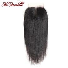 ALI ANNABELLE cheveux brésiliens droite dentelle fermeture milieu partie moyen brun suisse dentelle 4x4 brésilien Remy cheveux dentelle fermeture
