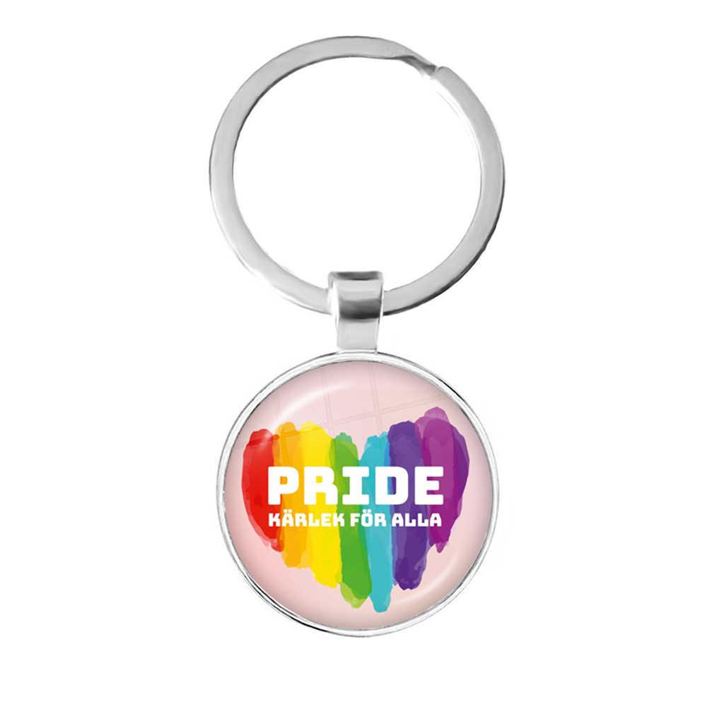 LGBT พวงกุญแจ Bi Pride 25mm แก้วโดมจี้แหวนเกย์ Pride สายรุ้ง Photo Cabochon เครื่องประดับสำหรับผู้หญิงคนรัก