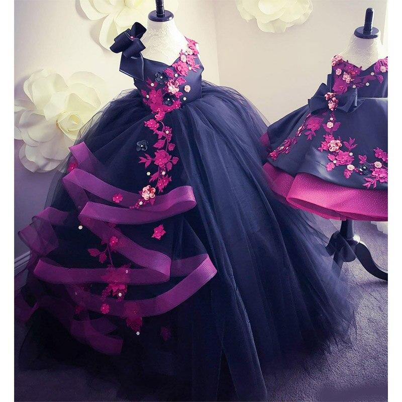 Сексуальное кружевное платье с открытой спиной и кристаллами для девочек; Бальное платье из тюля; Свадебные платья для маленьких девочек; В...