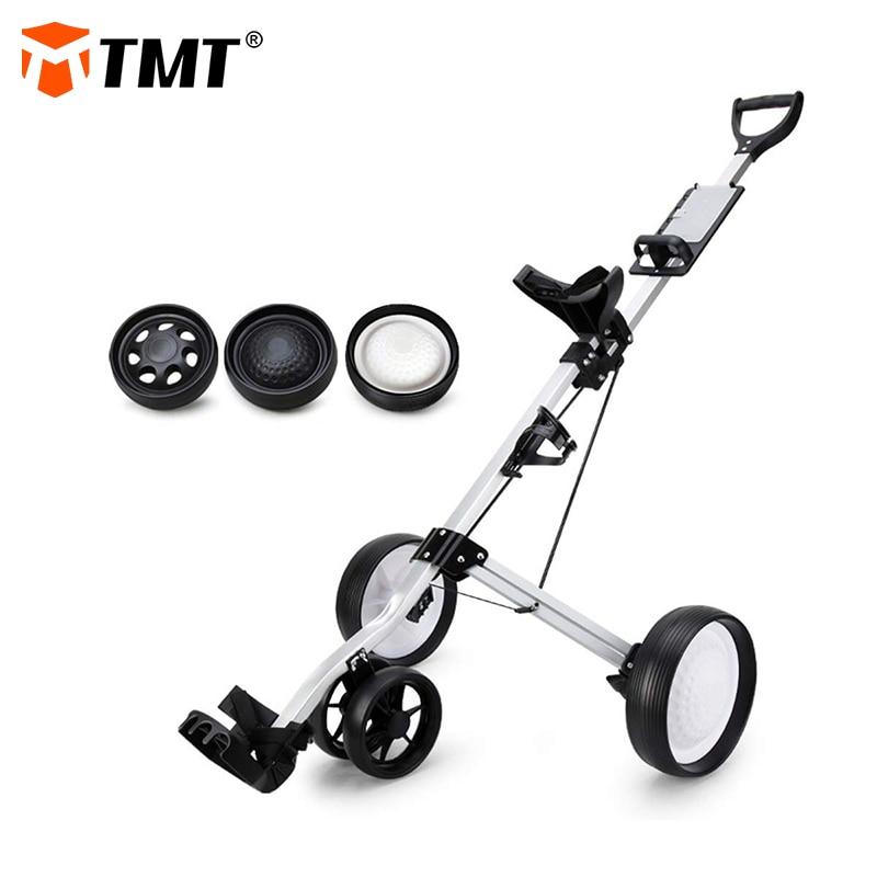 TMT 4 Wheels Golf Pull Cart Easy Folding High Quality Strong Aluminum Push Cart Trolley for Golf Club Bag