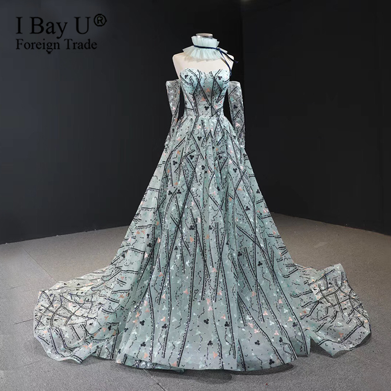 Sequin Lace Formal Evening Dresses 2020 Lace Sequined Removable High Collar Long Sleeve Party Gowns Real Photo Clear Water Blue