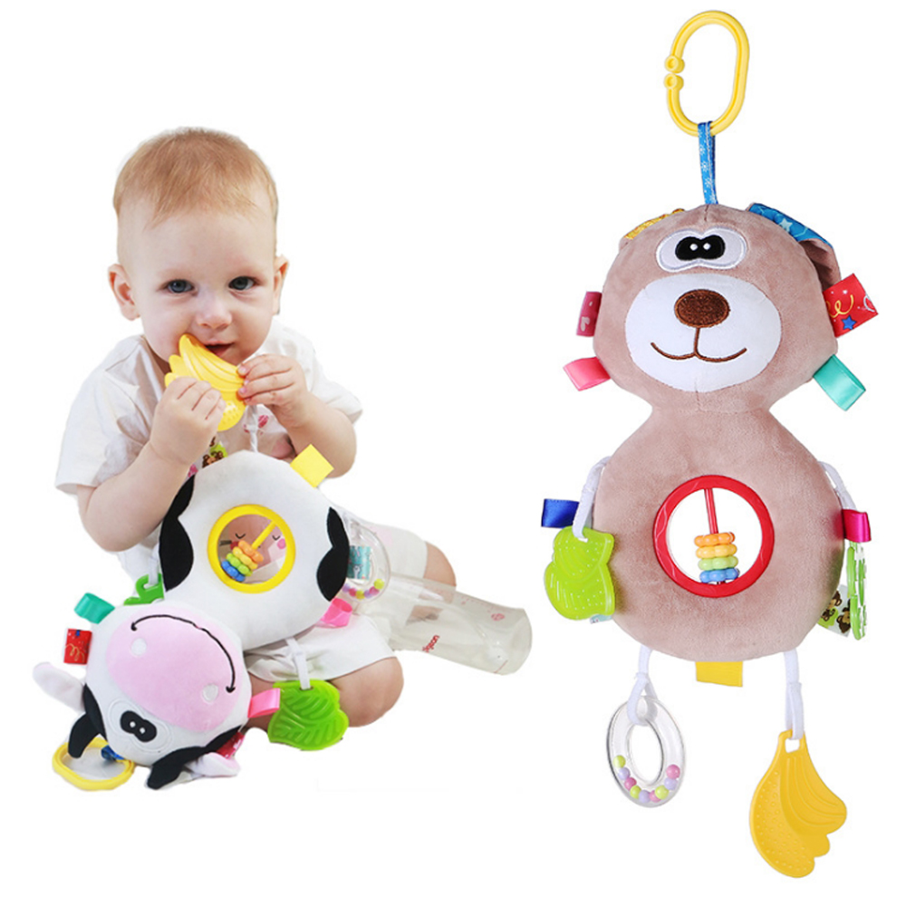 LOOZYKIT Toddler Toys Rattles Cute Toys For Baby Plush Doll Pendants Soft Teether Mobile Stroller Abacus Beads Hanging Baby Gift