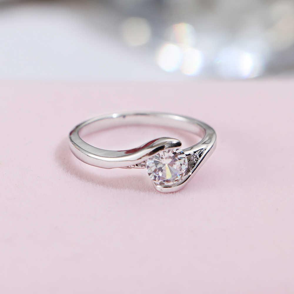 1 шт. классическое круглое сечение белый очаровательный Циркон Кристалл обручальное кольцо для женщин Свадебная вечеринка Ювелирные Кольца Подарочные