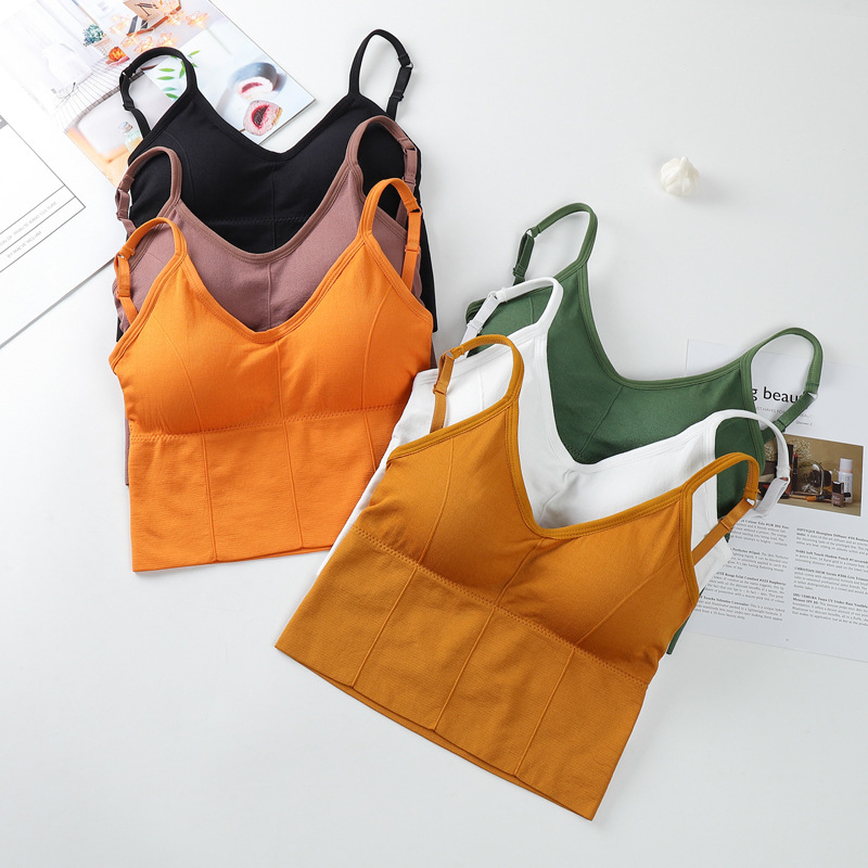 Women Crop Tops Seamless Underwear Female Tank Camis Sexy Lingerie Intimates Removable Padded Camisole Femme Sports 2