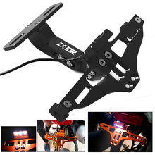 цена на For Kawasaki ZX10R ZX-10R 2006 2007 2008 2009 2010 2011-15 Motorcycle LED License Plate Holder Support Plaque Moto Bracket Frame
