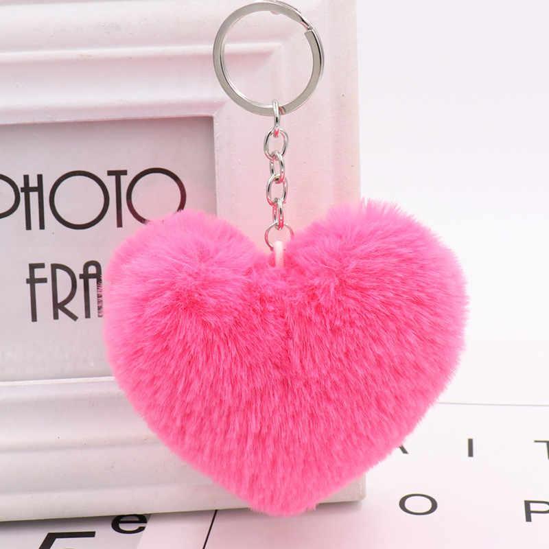 Hot 1 PC 10 CENTÍMETROS Bonito Fofo Faux Rex Rabbit Fur Chaveiros Chaveiros Coração das Mulheres Menina Saco De Pendurar anel Chave do carro Acessórios de Jóias