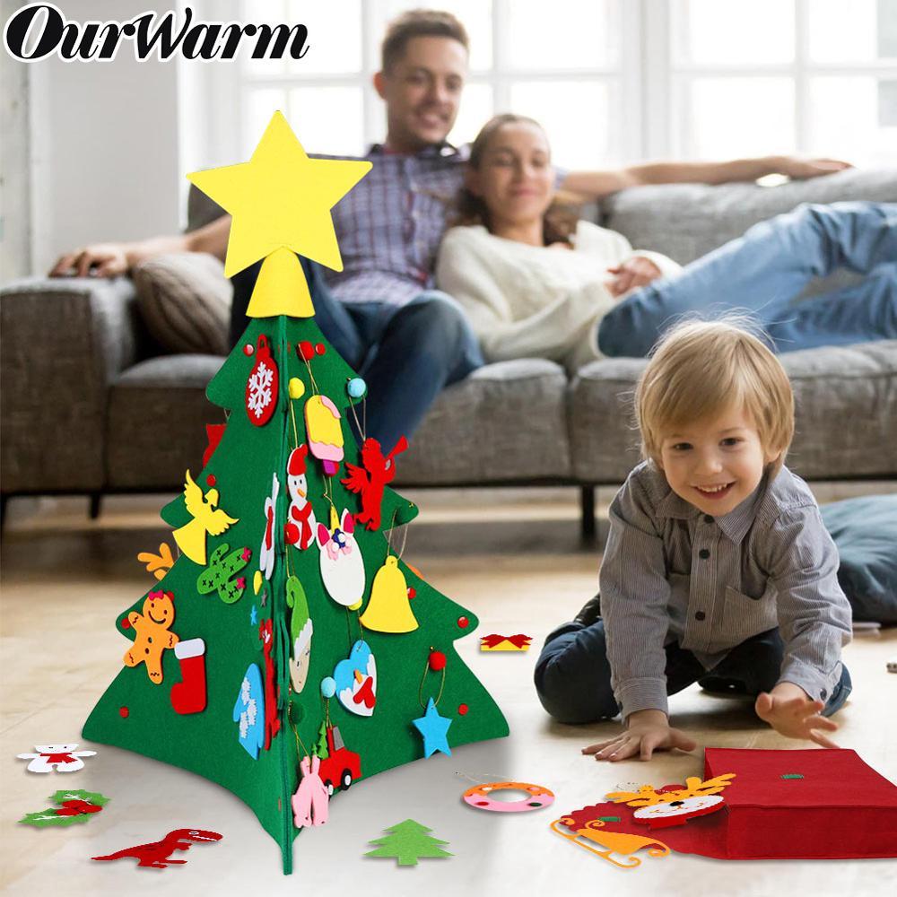 Ourwarm diy sentiu árvore de natal presentes do ano novo crianças brinquedos árvore artificial ornamentos decoração de natal para casa natal árvore de feltro