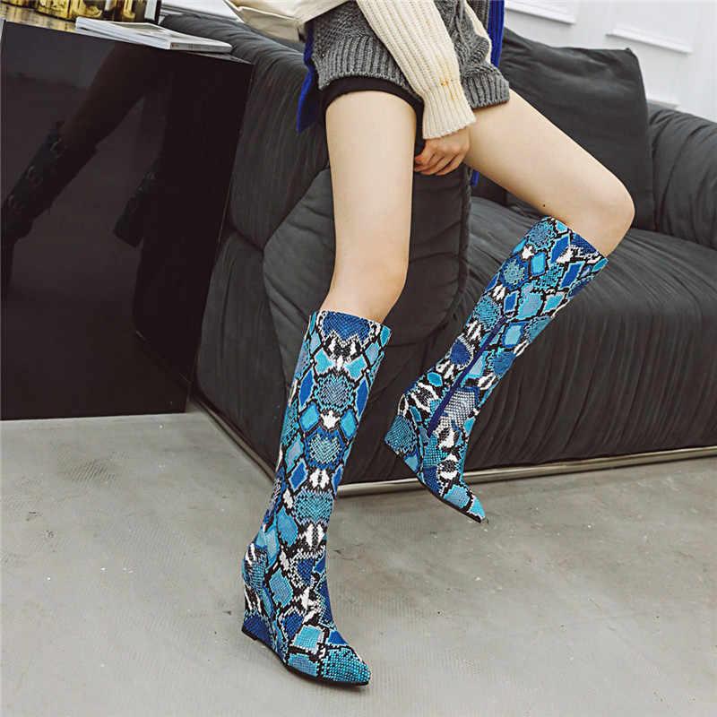MORAZORA 2020 büyük boy 43 kadın diz yüksek çizmeler yılan sivri burun zip takozlar ayakkabı sonbahar kış çizmeler bayanlar parti balo ayakkabı