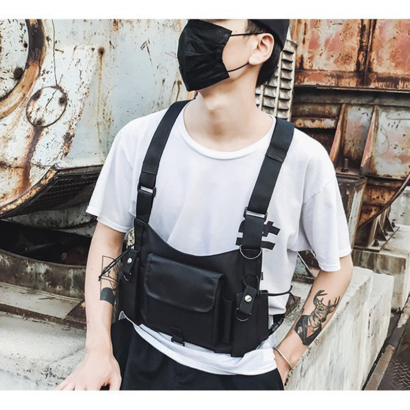 Men Chest Rig Bag  Adjustable Waistcoat With Pockets Military Jacket Streetwear Tactical Hunting Hip Hop Chest Bag Waist Bags C6