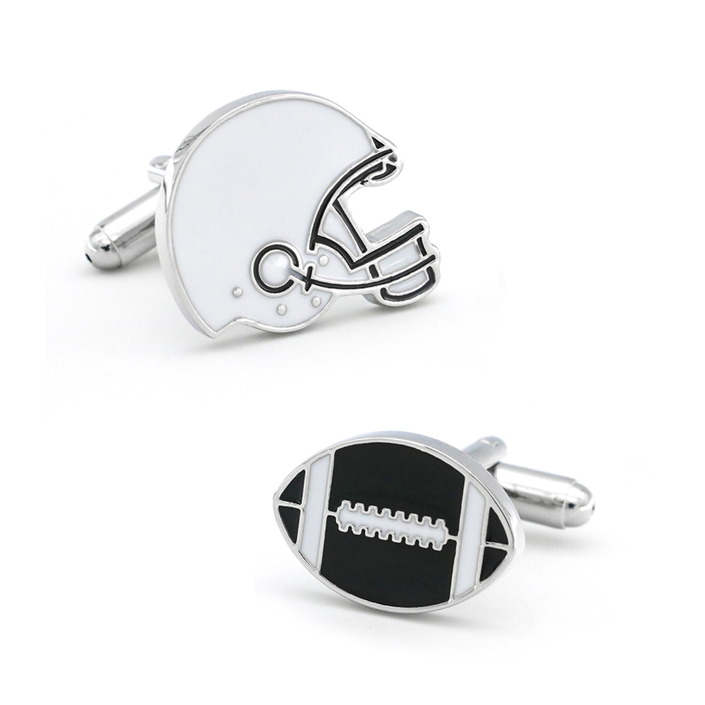 IGame New Arrival American Football Cuff Links Black Color Rugby Player Design Quality Men's Brass Cufflinks Free Shipping