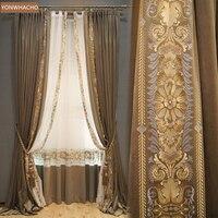 Custom curtains high class luxury America embroidery velvet living room villa coffee cloth blackout curtain tulle panel C081