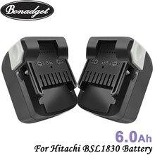 Bonadget 6000mah 18v li-ion bateria recarregável para hitachi bsl1830 bsl1815x 330067 330068 330139 ferramentas elétricas bateria