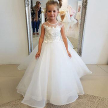Ball Gown Round Neck Sleeveless Appliqued Flower Girl Dresses With Beading Kid Girls Dress For Little Glitz White Princess