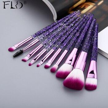 FLD 10 Pieces Glitter Makeup Brushes Set Crystal Handle Powder Brush Foundation Eyebrow Face Mascara Blush Eyeliner Tools Kits 1